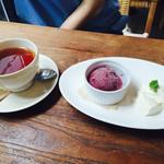 AsianCafeHiroz - スタンダードランチ(ピザorパスタ、前菜盛り、パン、サラダ、ドルチェ2種、ドリンク)¥1580。赤ワインのソルベなど、紅茶