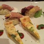 全席個室 楽蔵 - ローストビーフ トリュフ醤油  ・焼きベビーコーンの生ハム巻  ・7種野菜のキッシュ