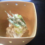 修伯 - 貝柱 銀杏 いんげんの和え物