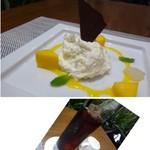 ESSEN tapas & grill - ◆デザートは「本日のデザート」がお勧めと伺いそれを。 「チーズケーキ」に「マンゴ」が添えられています。 ◆ドリンクも選べますので「アイスコーヒー」を。