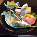 52898356 - 八寸 蓬豆腐、たらの芽東寺揚げ鯉のぼり添え、ちまき、土筆の胡麻和え、干し柿、クリームチーズの粕漬け、鴨ロース