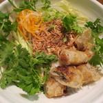 チャオハノイ - サラダ麺、揚げ春巻きのせ(追加パクチーを乗せた)