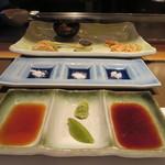さが風土館 博多季楽 - タレ2種類、山葵、柚子胡椒、塩3種類