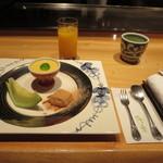 さが風土館 博多季楽 - 手作りデザート前に、おしぼり換え