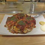 鉄板焼 天 - コース料理のシメのデザートの前に、ミックスお好み焼き1400円を注文。