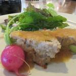 まちのシューレ 963 カフェ - ミートローフ レモンおろしソース 人参のドレッシングのサラダ