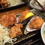 北海道厚岸 - 牡蠣フライと鶏ザンギ