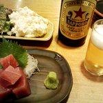浅草銀鯱 - (2010年10月某日追加)「中トロブツ」と「自家製ポテトサラダ」。