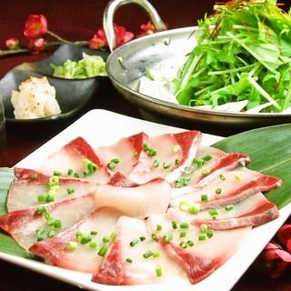 新鮮魚介彩り鍋自慢の鰤しゃぶ・鯛しゃぶ