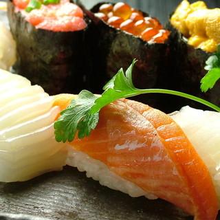 各種食べ放題に+1200円(税別)でお好み生寿司食べ放題