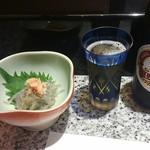 築地寿司岩 - 中瓶とつまみ