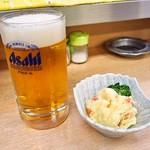 京屋本店 - 生ビール & ポテトサラダ