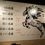 馬肉専門店 虎桜 - お肉の部位の説明
