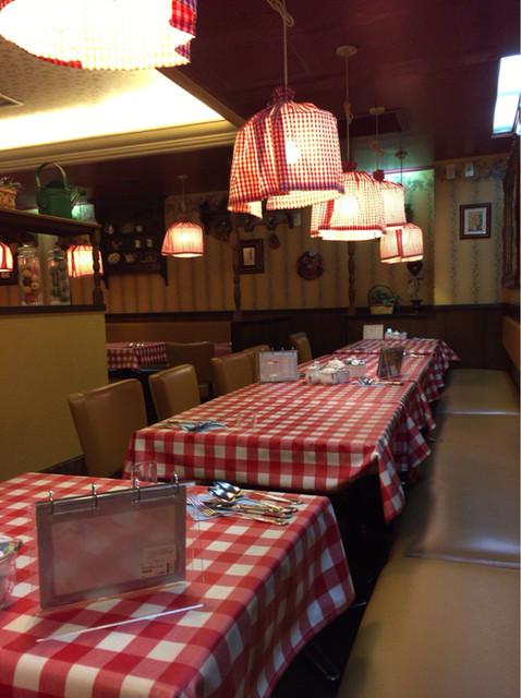 ラケル 池袋東口店 - 赤と白のギンガムチェックが多用された可愛らしい店内