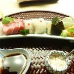 懐石料理 桝田 - お造り(トロ、甘手鰈、鱧、蒸し鮑、雲丹)
