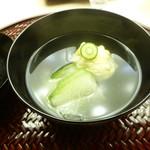 懐石料理 桝田 - お椀(トウモロコシ真丈と冬瓜)