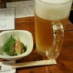 52962760 - 生ビールとお通し(ふきのとう味噌)