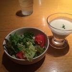 52963242 - サラダと冷たいスープ。                       うまし。