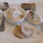 5297655 - 前菜4種(上:茸のテリーヌ、右:烏賊のマリネ、下:地鶏のテリーヌ、左:ヒヨコマメのムース)