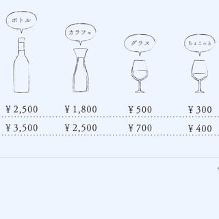 赤・白ワインがすべてグラスからお楽しみ頂けます!