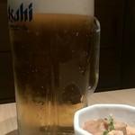 とりかく - 生ビール中(518円)+お通し(324円)