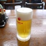東峯園 - 生ビール 中ジョッキ 600円。