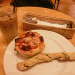 53034995 - カフェラテとパン2種