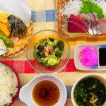 花風 - お造りと天ぷら定食1296円