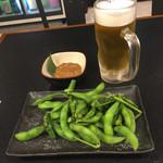 野毛飲み集会所 陣 - 最初はビールと枝豆です。