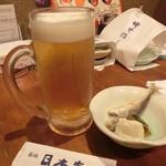 築地日本海 - 2016.7 生ビールとお通し(鯵の南蛮漬けと豆腐 )