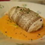 シャテール - 黒舌平目のファルシー 帆立貝のムース&車海老を添えて