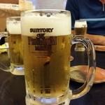 手打そば 太郎庵 ふく田 - 生ビールで乾杯