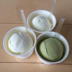 島のアイスクリーム屋 トリトン - 塩バニラ、ミルク、黒蜜うぐいすきな粉(黒蜜かける前)