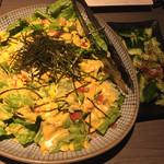 蝉時雨 - 旬菜エスニックサラダとピリ辛きゅうりのたたきです