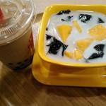 鼎雲茶倉 - マンゴーココナッツ+仙草ゼリーにタピオカミルクティをセット