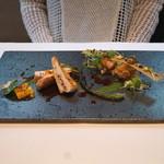 ランベリー ナオト キシモト - 京都七谷赤地鶏胸肉のロティ と もも肉のコンフィ 万願寺甘唐のグリエとピュレ