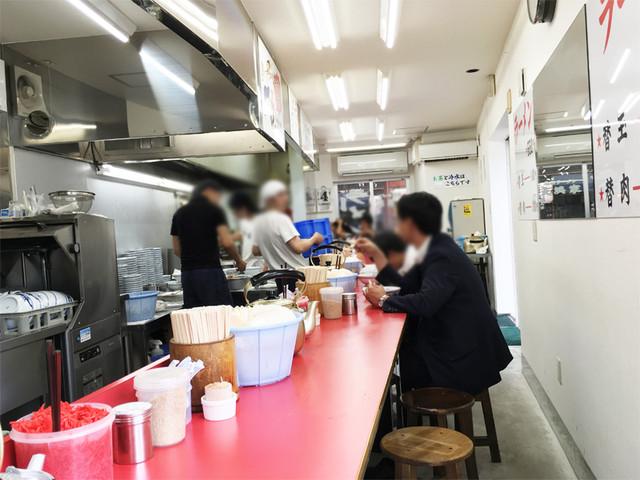 元祖ラーメン長浜家 - 店内は長~いカウンター席のみです。
