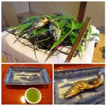 53123583 - ◆美山の鮎の塩焼き・・桜田さんでもこのような盛り付けで出された記憶があります。                       こういう演出は愉しめますね。
