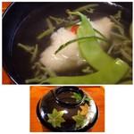 53123659 - ◆淡路の鱧、広島のジュンサイ。                       お出汁が美味しいこと。鱧も丁寧に骨切りされ旨みを感じます。