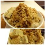 和カフェ 京あんじゅ - ◆私は「黒糖きなこ(650円)」を頂きます。「わらび餅」が添えられていました。 「黒糖」には「きな粉」がよく合いますね。