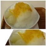 和カフェ 京あんじゅ - ◆柚子三昧(750円)・・上には甘露煮にした「柚子」がのせられ、白玉が2個添えられています。 「柚子茶」のような味わいだと言ってましたけれど。