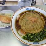 桃中軒 - 天ぷらうどん(350円)+いなり(60円)