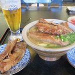 Shureisoba - (2016.6.23)軟骨ソーキそば(中)、こってり味、かた麺、トッピング軟骨ソーキ×2、オリオン生グラス