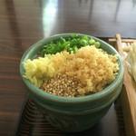 山賊村 - 薬味は細葱と生姜とゴマ、天かす