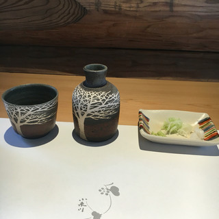 小来川 山帰来 - 料理写真:提供される器(十割山帰来用)
