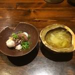 彩酒亭 洞 - 付き出し、ウリ素麺と蛸の吸盤