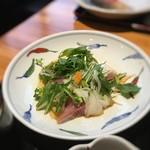 東日本橋 かどわき - 「白身魚のお刺身とたっぷり野菜のポン酢掛け」 2016年4月