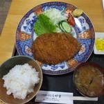 にしやま - ジャンボかつ定食 税込¥1400
