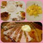 Osteria Due - デザート盛り合わせ、ラビオリ、豚グリル