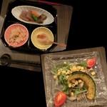 53252094 - <2016/7月> 前菜と串の途中の箸休めの綾町のお野菜。前菜の切り干し大根は煮物じゃなくポン酢味で和えたもの。